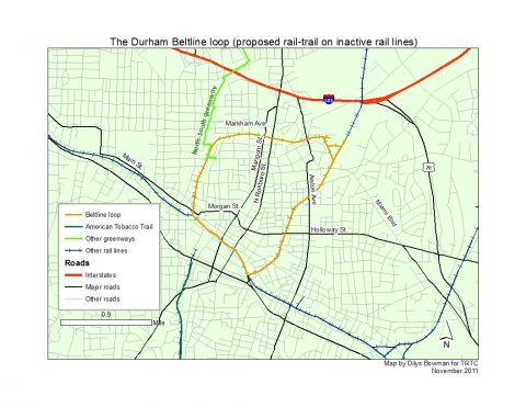 Map of proposed Durham Beltline