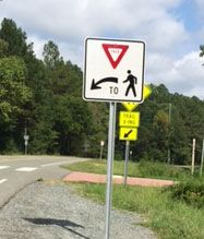 New Pedestrian Signs at O'Kelly Chapel Crossing