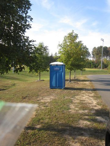 Porta-jon at access road to Herndon Park, Durham